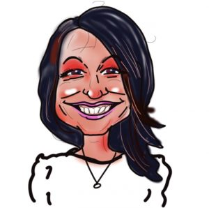 Caricature of Donna Whyte, Kingsley Roofing admin team