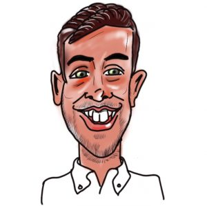Caricature of Freddie Spyer, Kingsley Roofing contracts manager