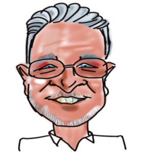 Caricature of Simon Boxall, Kingsley Roofing contracts manager