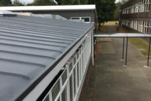 Case study school showing flat roof