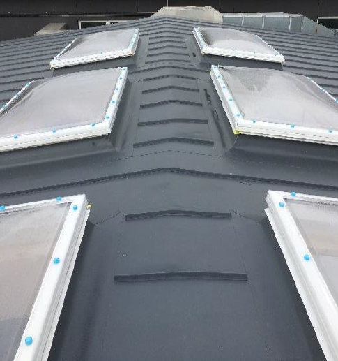 Metal roofing with rooflights on a school roof